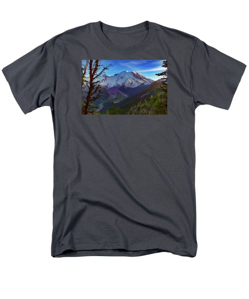 Men's T-Shirt  (Regular Fit) featuring the photograph Mt Rainier At Emmons Glacier by Ken Stanback