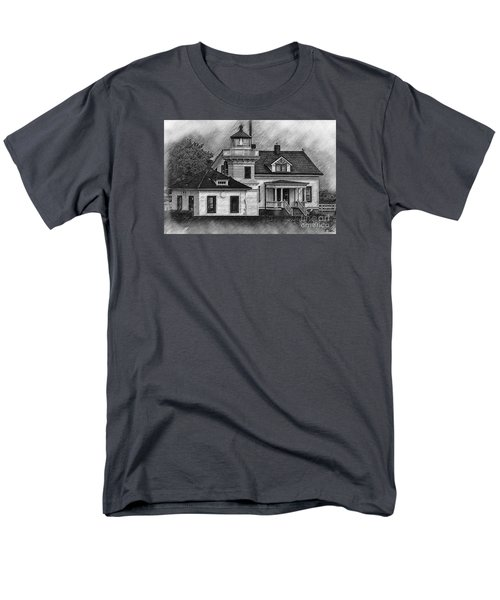 Men's T-Shirt  (Regular Fit) featuring the digital art Mukilteo Lighthouse Sketched by Kirt Tisdale