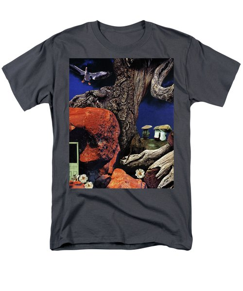 Men's T-Shirt  (Regular Fit) featuring the painting Mushroom People - Collage by Linda Apple