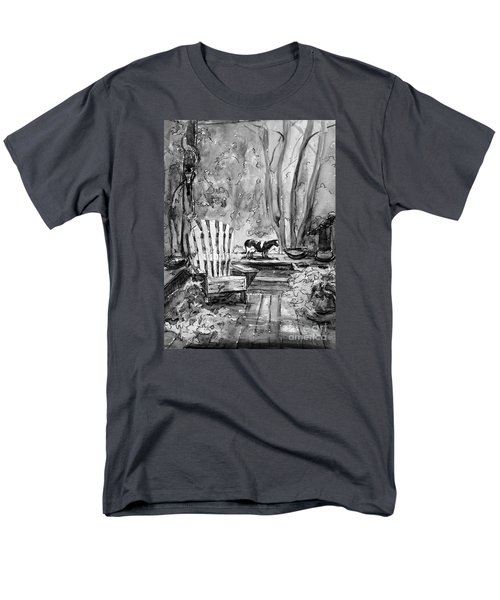 Men's T-Shirt  (Regular Fit) featuring the painting My Front Deck In Bw by Gretchen Allen