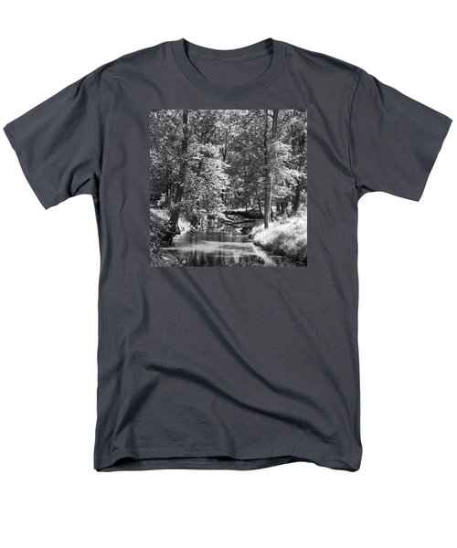 Men's T-Shirt  (Regular Fit) featuring the photograph Nadine's Creek In Black And White by Kathy Kelly