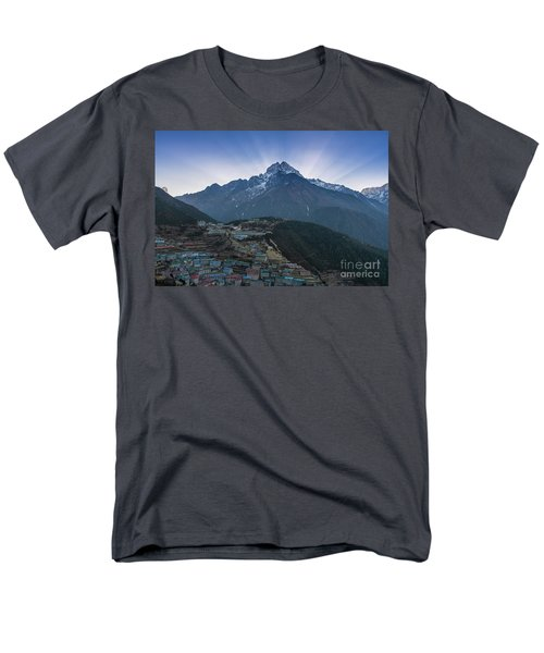 Men's T-Shirt  (Regular Fit) featuring the photograph Namche And Thamserku Peak Morning Sunrays by Mike Reid
