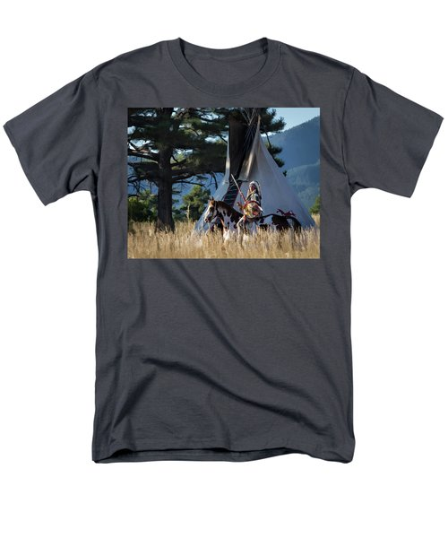Native American In Full Headdress In Front Of Teepee Men's T-Shirt  (Regular Fit) by Nadja Rider