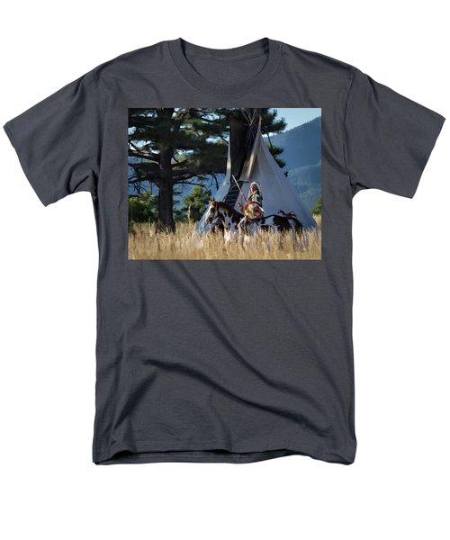 Native American In Full Headdress In Front Of Teepee Men's T-Shirt  (Regular Fit)