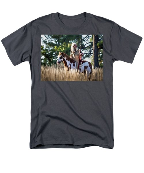 Native American In Full Headdress On A Paint Horse Men's T-Shirt  (Regular Fit) by Nadja Rider