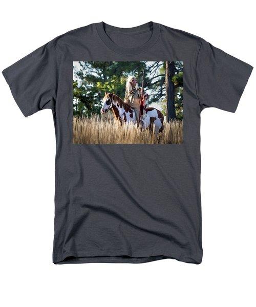 Native American In Full Headdress On A Paint Horse Men's T-Shirt  (Regular Fit)