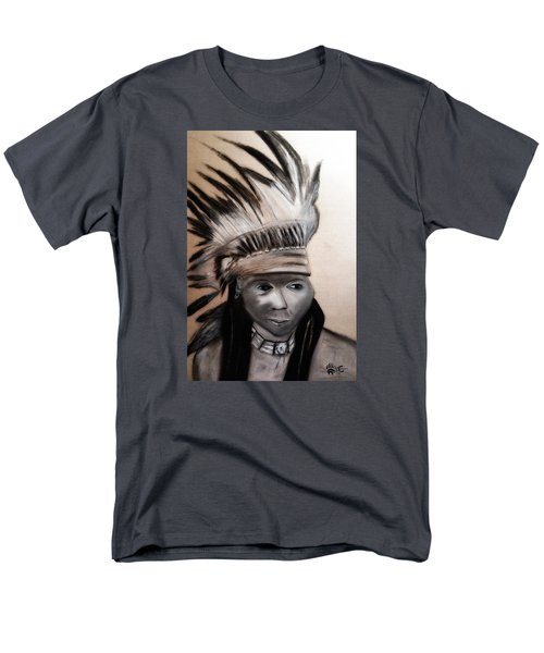 Men's T-Shirt  (Regular Fit) featuring the painting Arapaho Man With Gun. 1898. Wyoming by Ayasha Loya