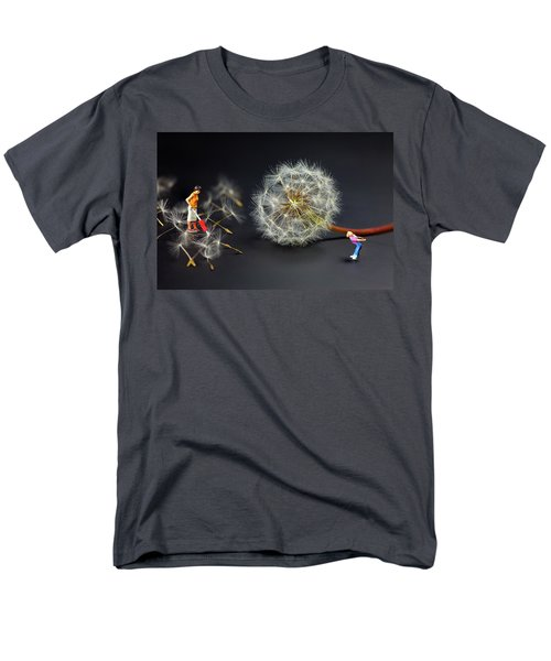Men's T-Shirt  (Regular Fit) featuring the painting Naughty Girl Playing Dandelion Little People Big World by Paul Ge