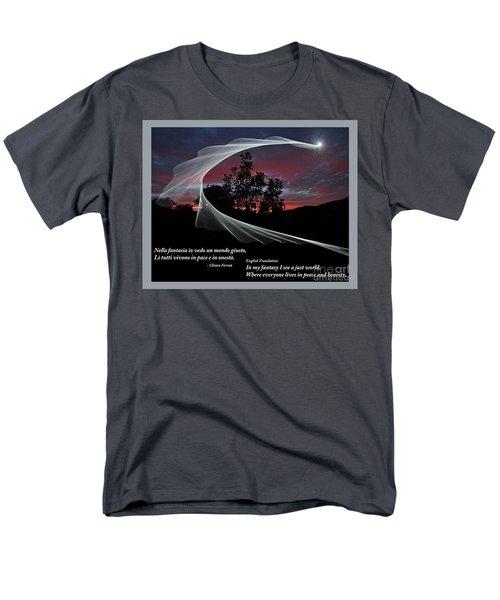 Nella Fantasia Io Vedo Un Mondo Giusto Men's T-Shirt  (Regular Fit) by Jim Fitzpatrick