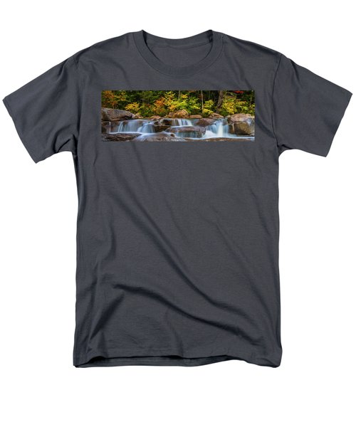 New Hampshire White Mountains Swift River Waterfall In Autumn With Fall Foliage Men's T-Shirt  (Regular Fit) by Ranjay Mitra