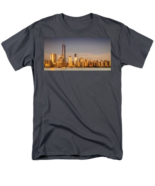 New World Trade Memorial Center And New York City Skyline Panorama Men's T-Shirt  (Regular Fit) by Ranjay Mitra
