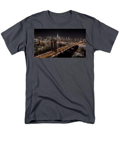 New York City, Manhattan Bridge At Night Men's T-Shirt  (Regular Fit) by Petr Hejl
