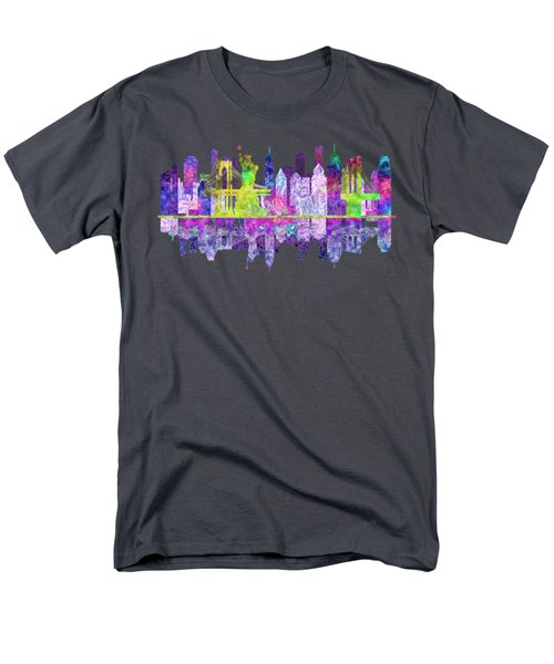 New York Skyline Glowing Men's T-Shirt  (Regular Fit) by John Groves