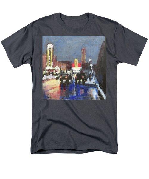 Night Around Michigan Theater Men's T-Shirt  (Regular Fit) by Yoshiko Mishina