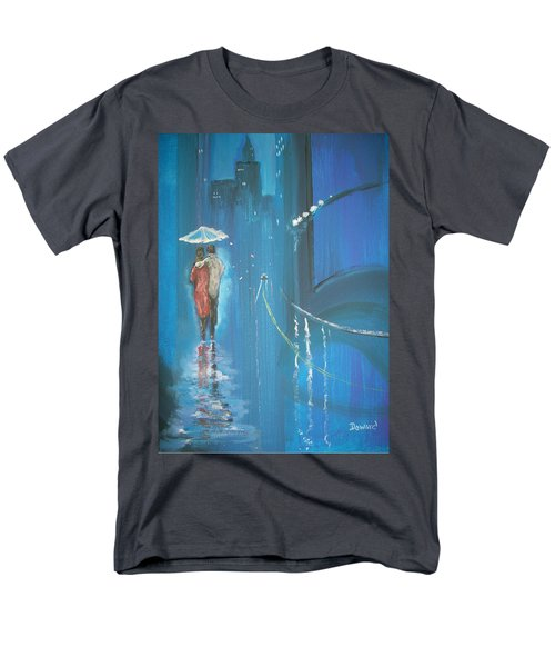 Men's T-Shirt  (Regular Fit) featuring the painting Night Love Walk by Raymond Doward