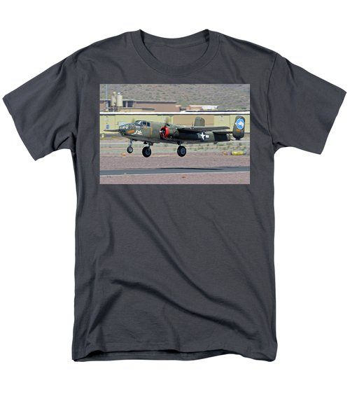 Men's T-Shirt  (Regular Fit) featuring the photograph North American B-25j Mitchell Nl3476g Tondelayo Deer Valley Arizona April 13 2016 by Brian Lockett