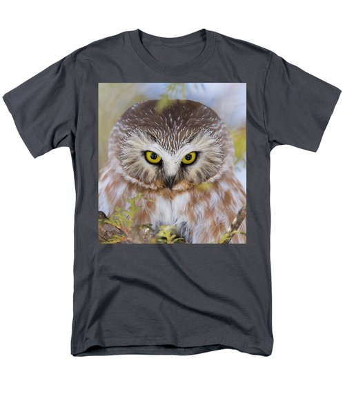 Men's T-Shirt  (Regular Fit) featuring the photograph Northern Saw-whet Owl Portrait by Mircea Costina Photography