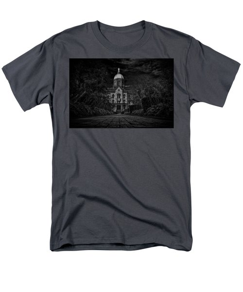 Men's T-Shirt  (Regular Fit) featuring the photograph Notre Dame University Golden Dome Bw by David Haskett