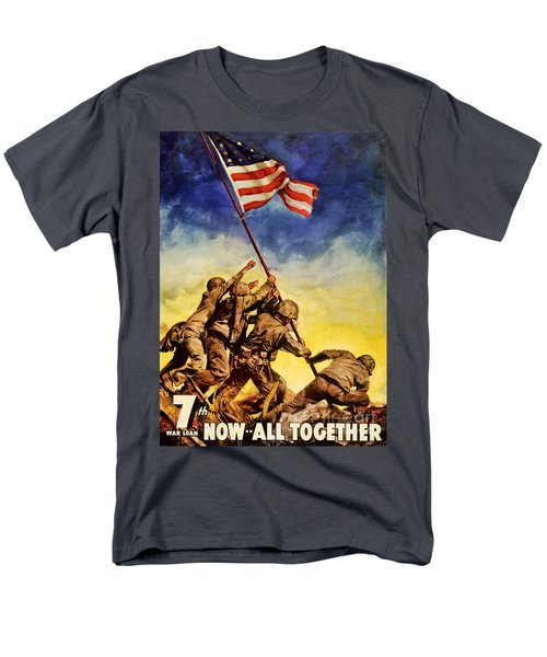 Now All Together Vintage War Poster Restored Men's T-Shirt  (Regular Fit) by Carsten Reisinger