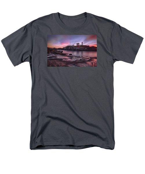 Nubble Lighthouse At Sunrise York Me Men's T-Shirt  (Regular Fit) by Betty Denise