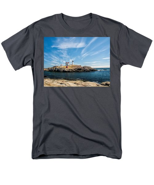 Nubble Lighthouse With Dramatic Clouds Men's T-Shirt  (Regular Fit) by Nancy De Flon