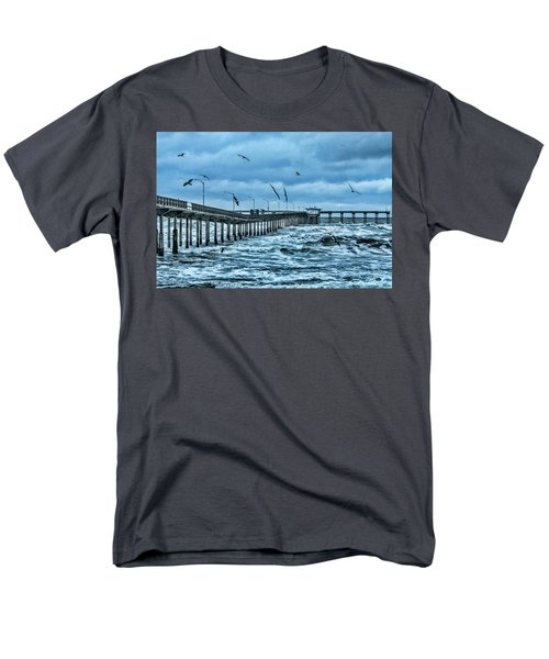 Ocean Beach Fishing Pier Men's T-Shirt  (Regular Fit) by Daniel Hebard