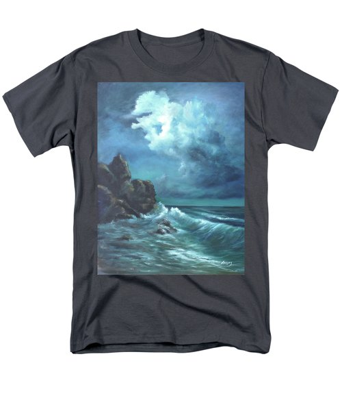 Men's T-Shirt  (Regular Fit) featuring the painting Seascape And Moonlight An Ocean Scene by Luczay