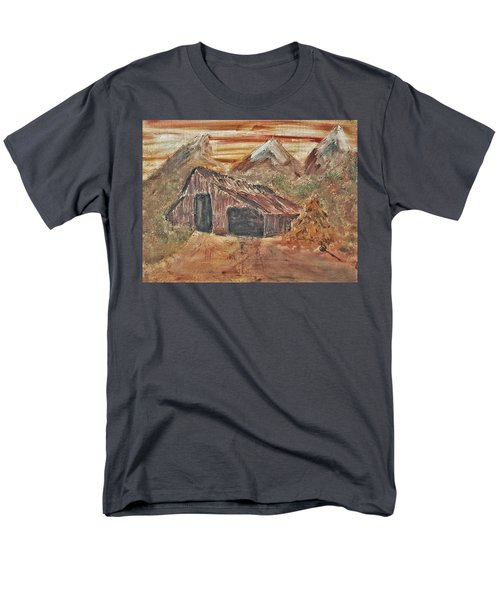 Men's T-Shirt  (Regular Fit) featuring the painting Old Farmhouse With Hay Stack In A Snow Capped Mountain Range With Tractor Tracks Gouged In The Soft  by MendyZ