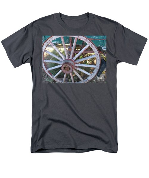 Men's T-Shirt  (Regular Fit) featuring the photograph Old Wagon Wheel by Dora Sofia Caputo Photographic Art and Design