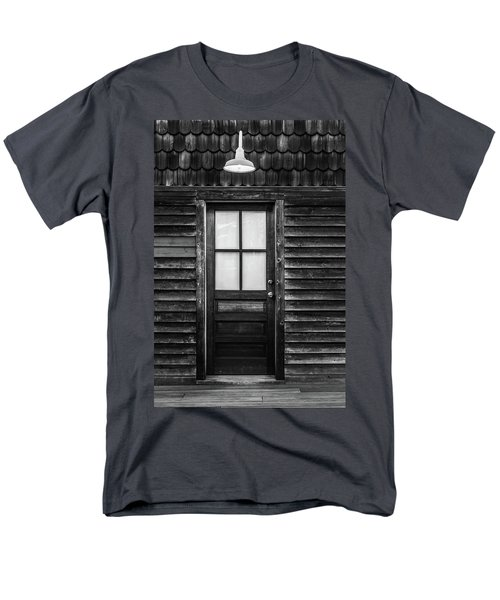 Old Wood Door And Light Black And White Men's T-Shirt  (Regular Fit) by Terry DeLuco