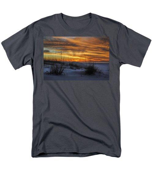 Orange Clouded Sunrise Over The Pier Men's T-Shirt  (Regular Fit) by Michael Thomas