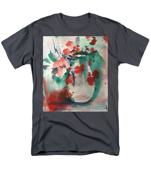 Oriental Brush Flowers And Vase Men's T-Shirt  (Regular Fit) by Robin Miller-Bookhout