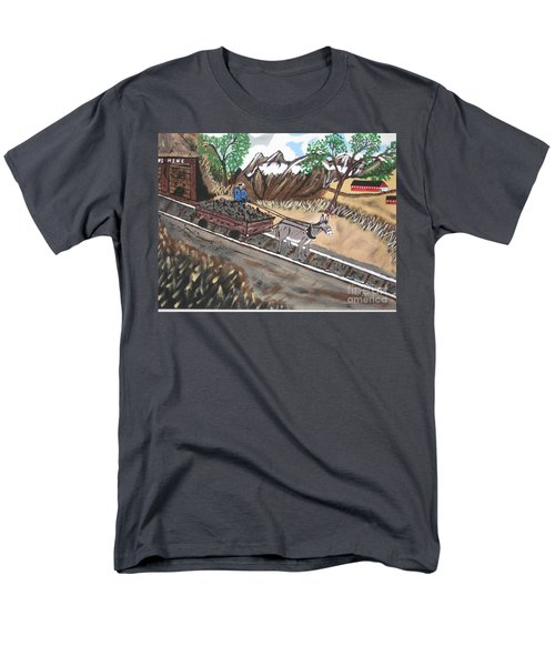 Men's T-Shirt  (Regular Fit) featuring the painting Out Of The Dark And Into The Blue Coal Mine by Jeffrey Koss