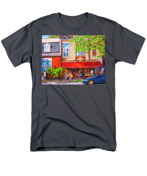 Men's T-Shirt  (Regular Fit) featuring the painting Outdoor Cafe by Carole Spandau