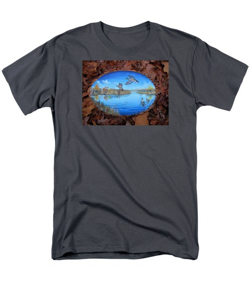 Men's T-Shirt  (Regular Fit) featuring the painting Oyster Creek Flock by Kevin F Heuman