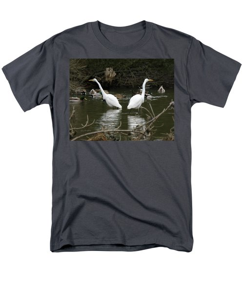 Men's T-Shirt  (Regular Fit) featuring the photograph Pair Of Egrets by George Randy Bass