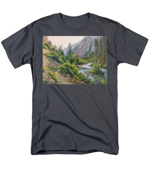 Men's T-Shirt  (Regular Fit) featuring the painting Palisades Creek  by Steve Spencer