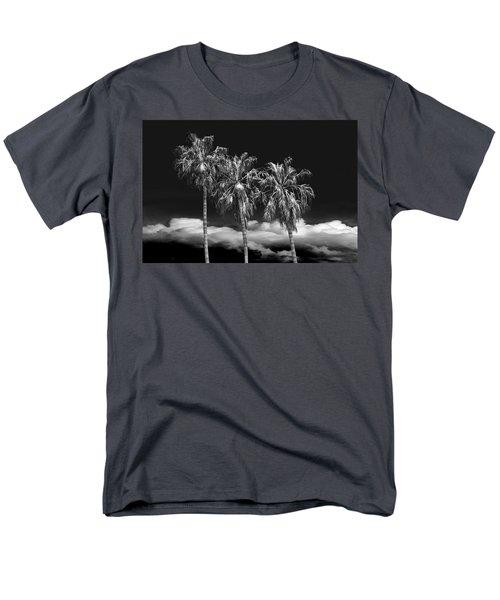Men's T-Shirt  (Regular Fit) featuring the photograph Palm Trees In Black And White On Cabrillo Beach by Randall Nyhof
