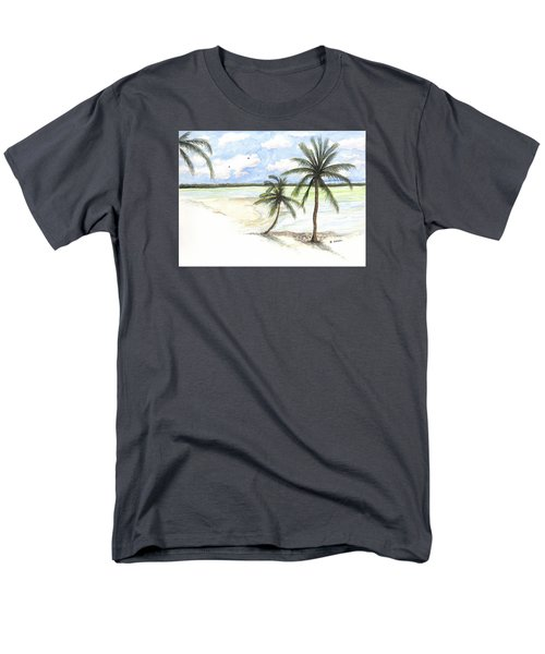 Palm Trees On The Beach Men's T-Shirt  (Regular Fit) by Darren Cannell