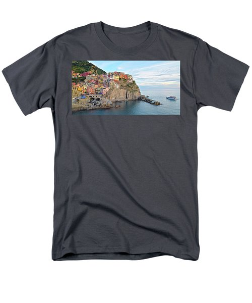 Men's T-Shirt  (Regular Fit) featuring the photograph Panoramic Manarola Seascape by Frozen in Time Fine Art Photography