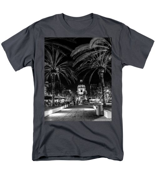 Men's T-Shirt  (Regular Fit) featuring the photograph Pasadena City Hall After Dark In Black And White by Randall Nyhof