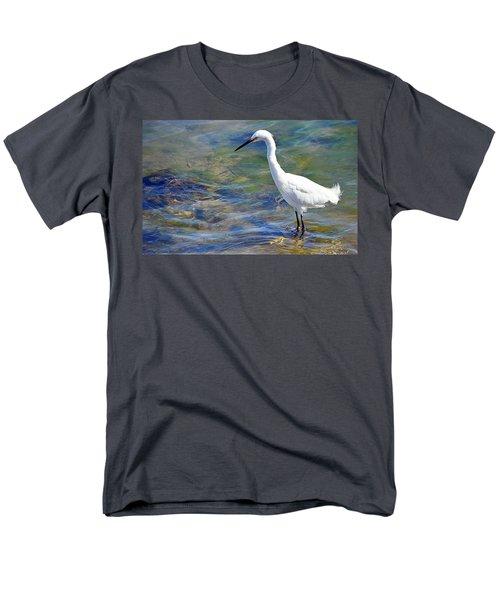 Patient Egret Men's T-Shirt  (Regular Fit) by AJ Schibig