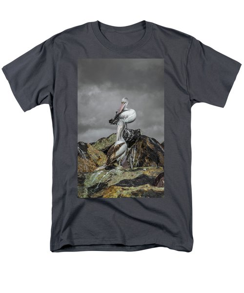 Pelicans On Rocks Men's T-Shirt  (Regular Fit) by Racheal Christian