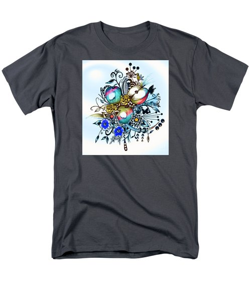 Men's T-Shirt  (Regular Fit) featuring the drawing Pen And Ink Drawing, Colorful Apples, Watercolor And Digital Painting by Saribelle Rodriguez
