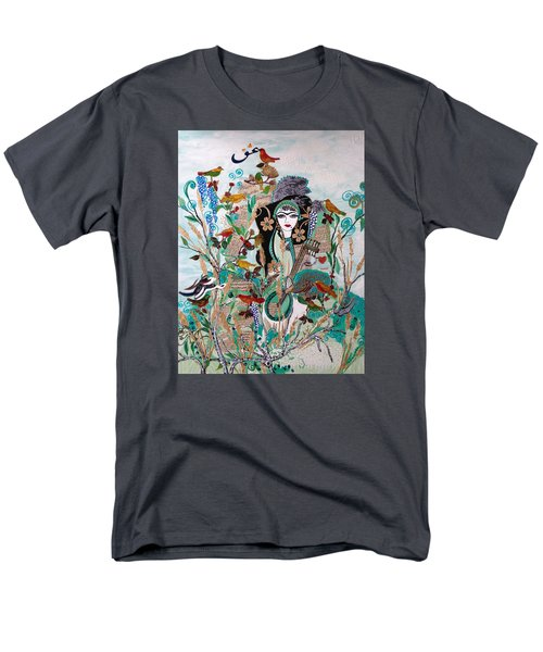 Men's T-Shirt  (Regular Fit) featuring the painting Persian Painting # 2 by Sima Amid Wewetzer