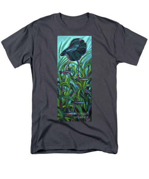 Men's T-Shirt  (Regular Fit) featuring the painting Persistent Fish Betta  by Robert Phelps