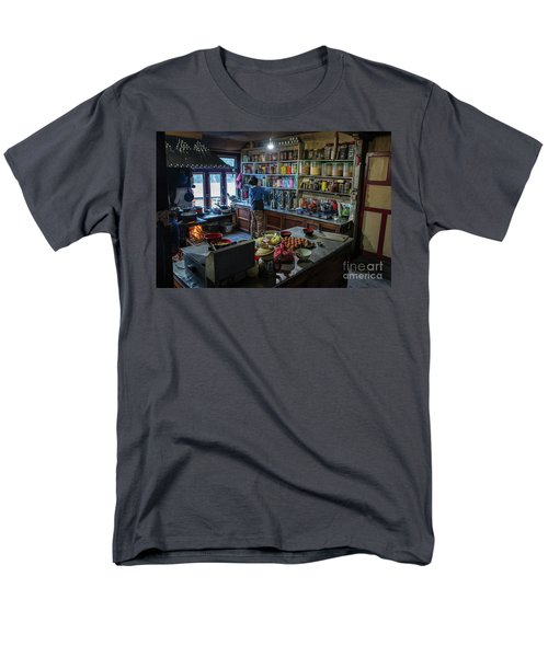 Men's T-Shirt  (Regular Fit) featuring the photograph Phakding Teahouse Kitchen Morning by Mike Reid