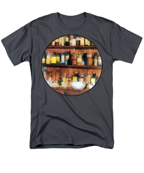 Men's T-Shirt  (Regular Fit) featuring the photograph Pharmacist - Mortar Pestles And Medicine Bottles by Susan Savad