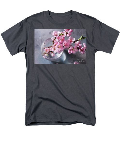 Pink Cherry Blossom Men's T-Shirt  (Regular Fit) by Anastasy Yarmolovich