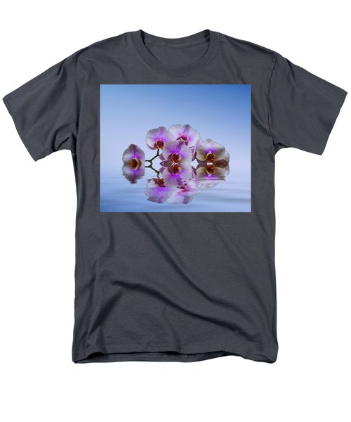 Pink Orchids Blue Background Men's T-Shirt  (Regular Fit) by David French